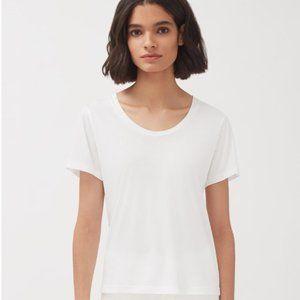 White Cuyana cotton scoop neck tee